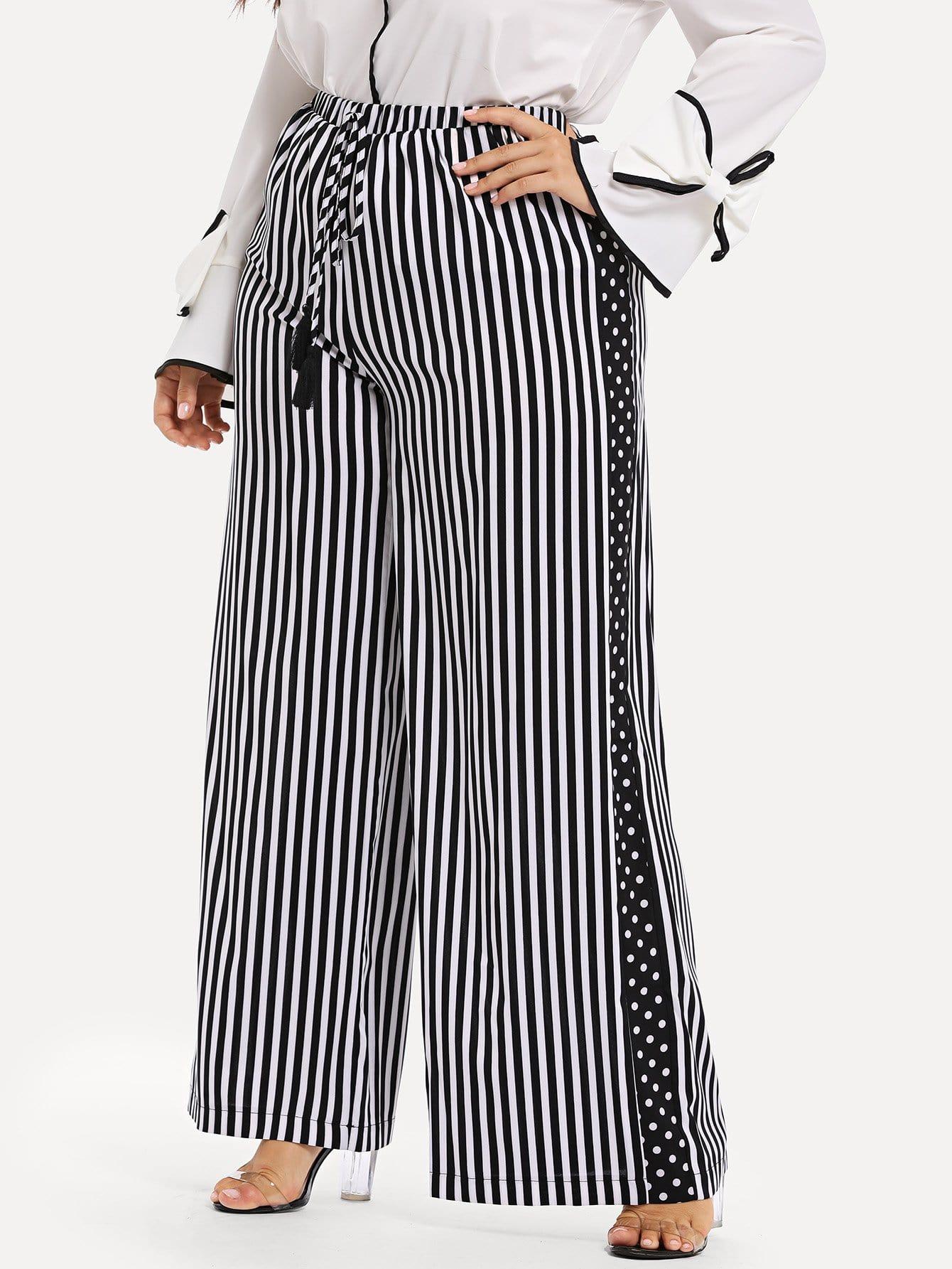 Купить Плюс Талия Упругие Drawstring Полосатые брюки, Franziska, SheIn