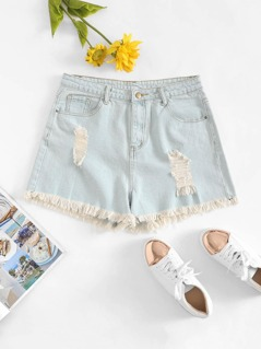 Plus Bleach Wash Ripped Denim Shorts