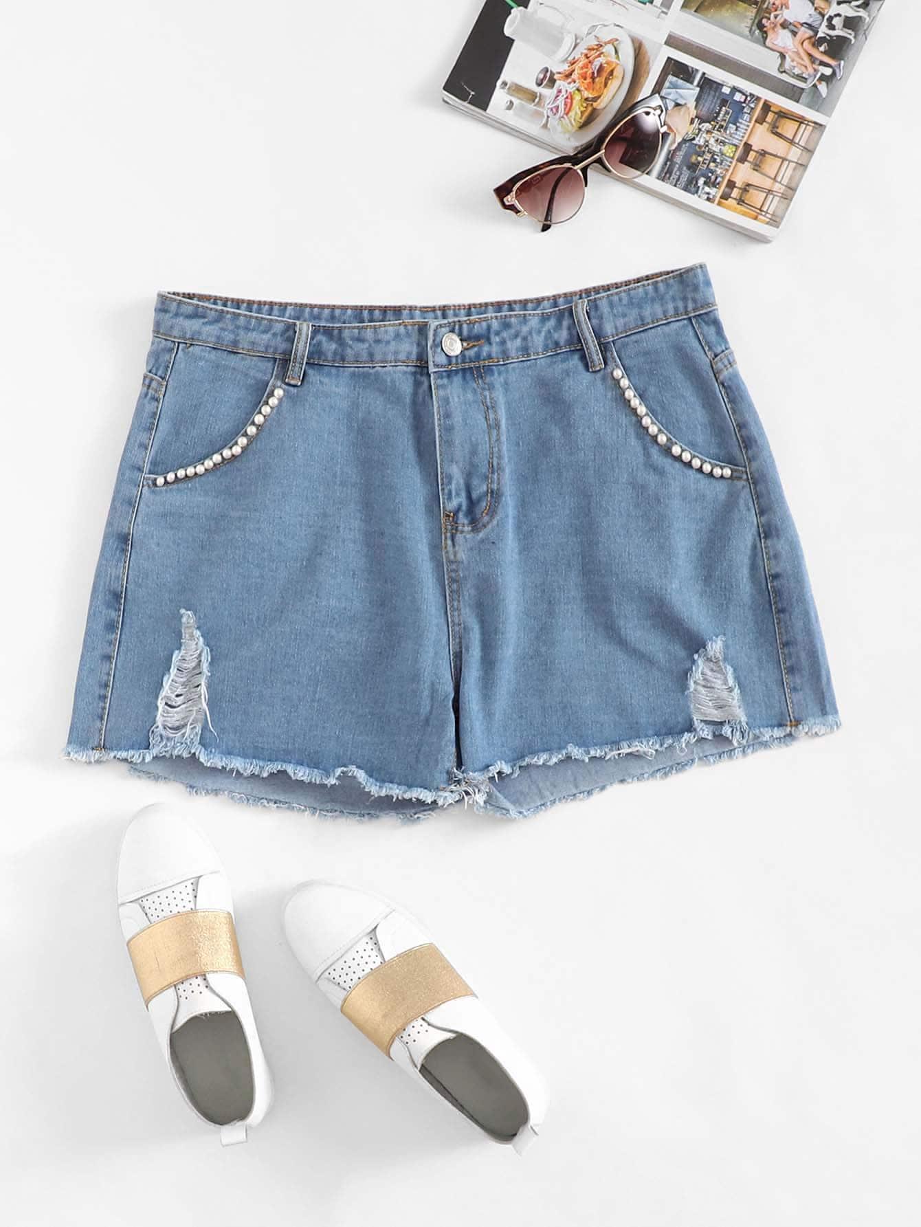Жемчужные детали Raw Hem Ripped Denim Shorts, null, SheIn  - купить со скидкой