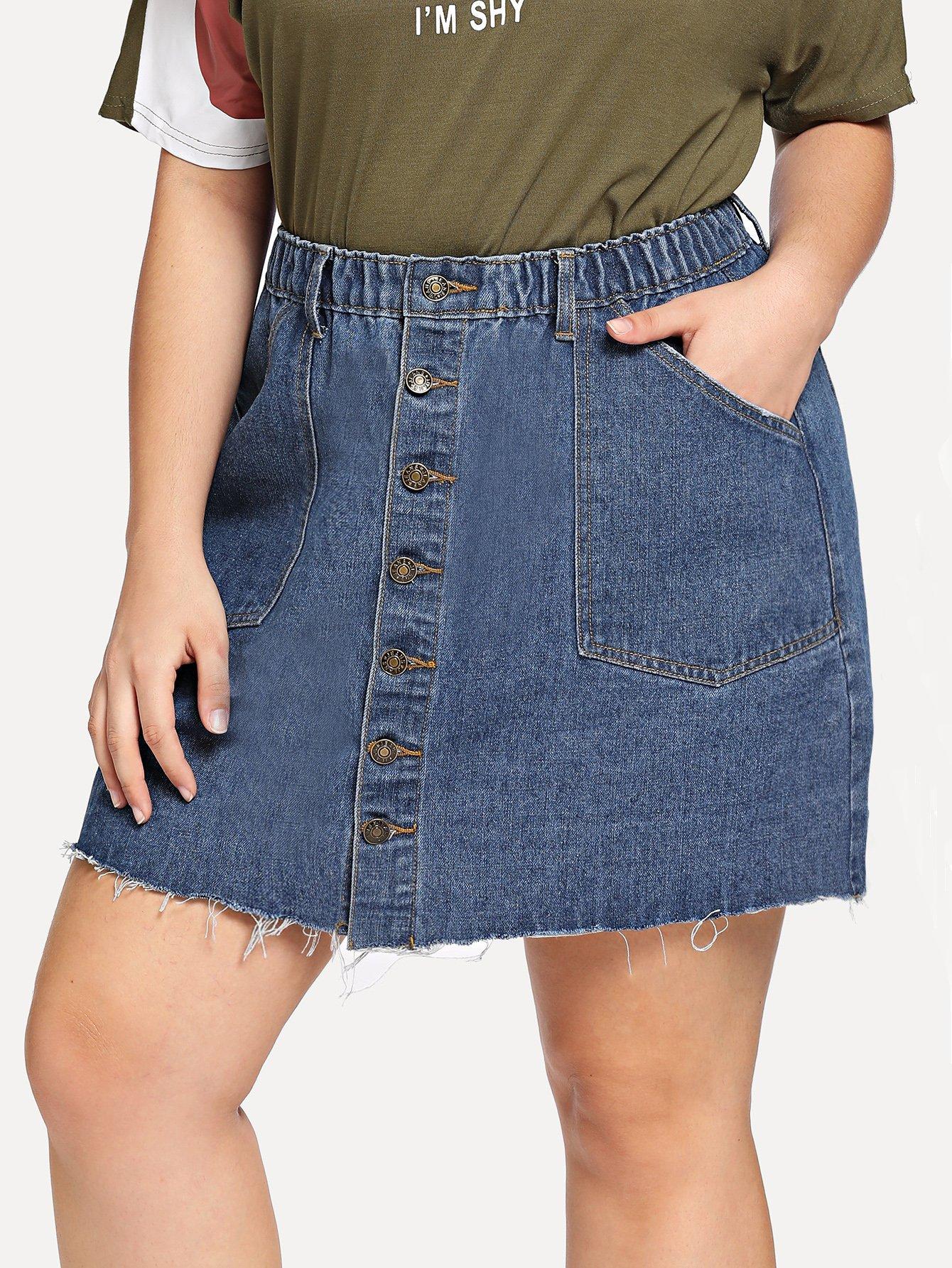 Купить Кнопка Up Raw Hem Denim Skirt, Carol, SheIn