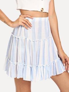 Ruffle Waist Elastic Striped Skirt