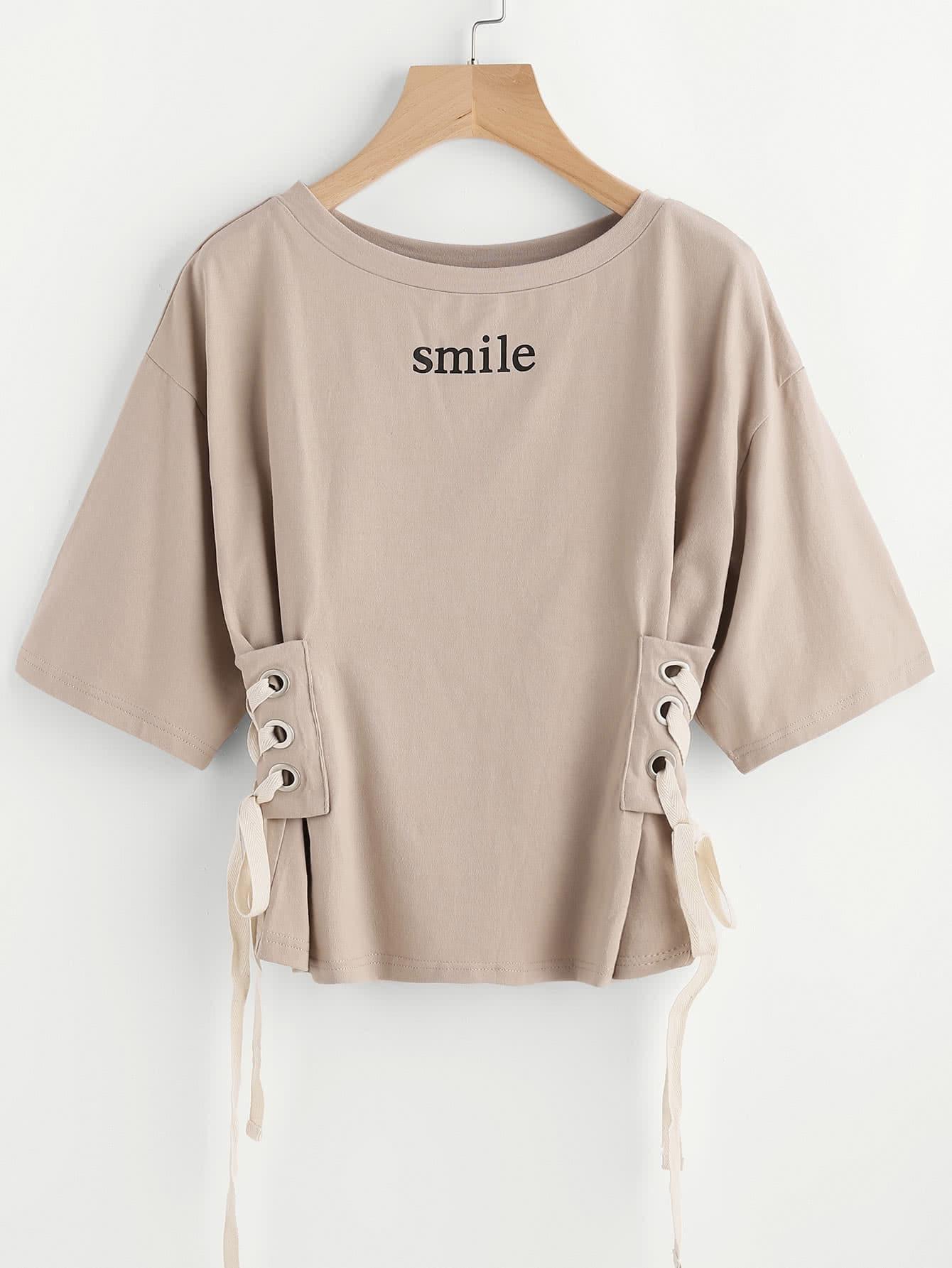 Купить Модная футболка со шнуровкой, null, SheIn