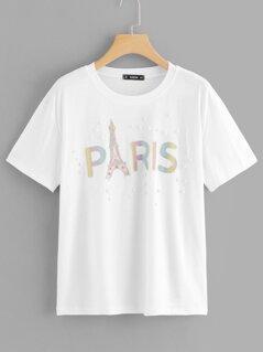 Pearl Beading Glitter Print T-shirt
