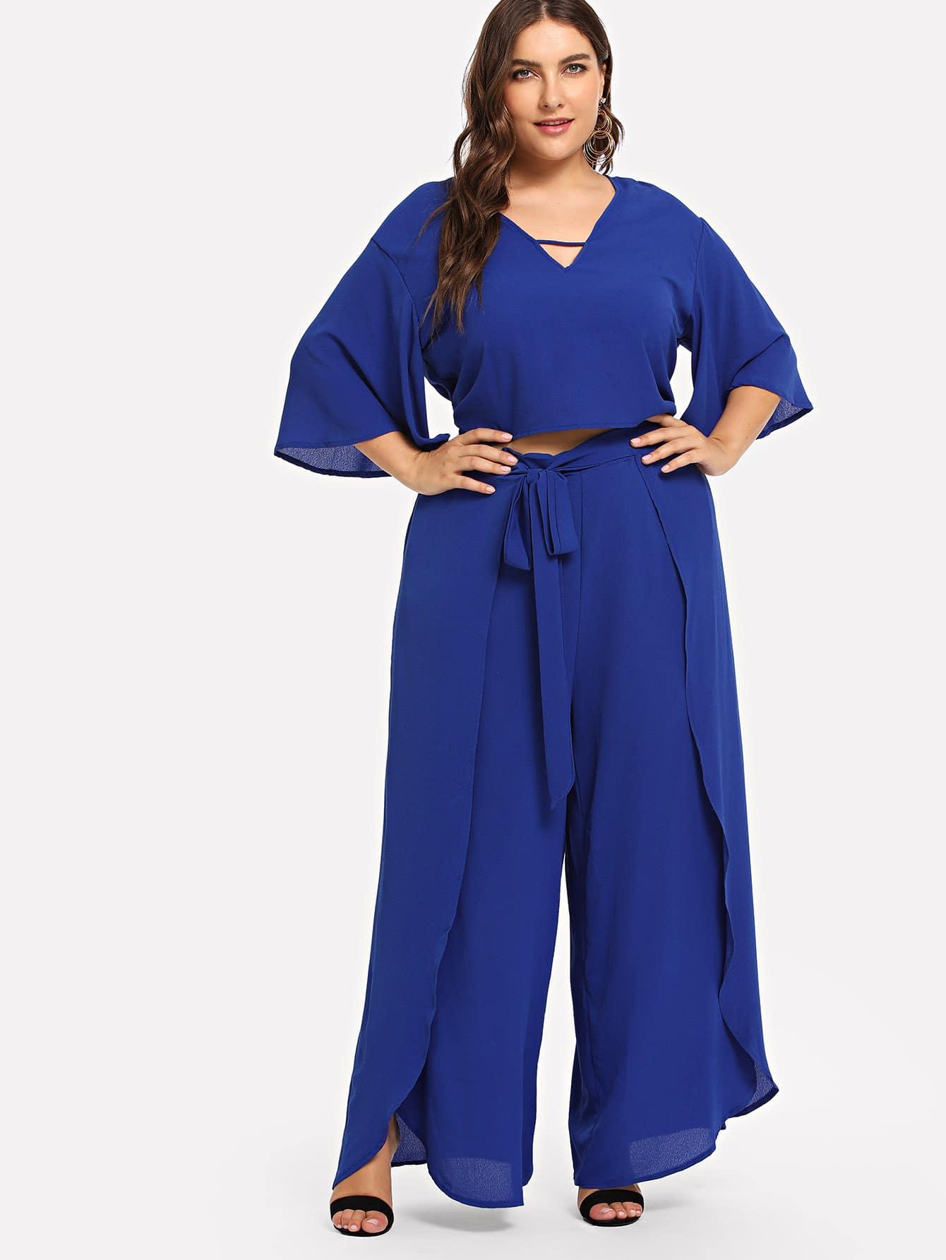 Купить Большая простая блузка и с V-воротником и широкие ножные штаны, Franziska, SheIn