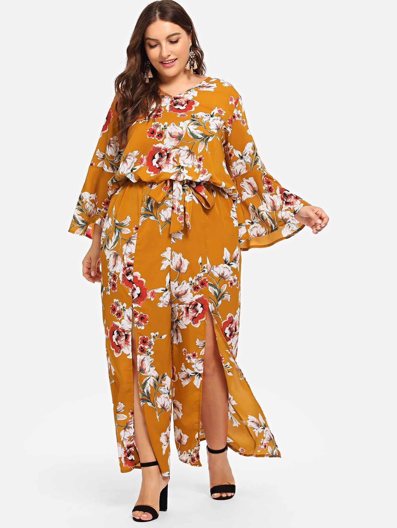 Купить Большая ситцевая блузка и с V-воротником и брюки, Franziska, SheIn