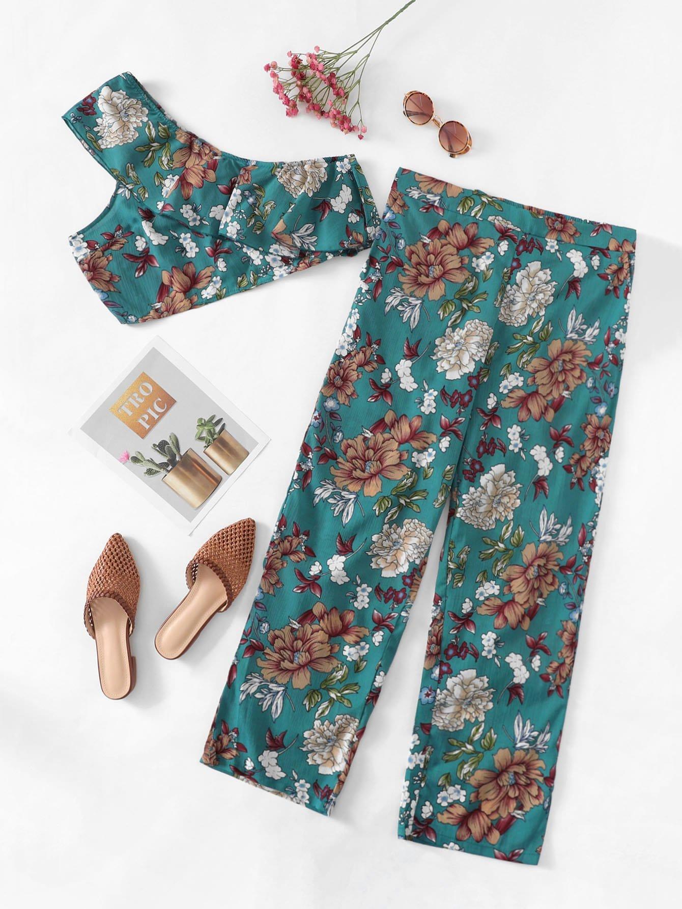 Купить Ситцевая блузка и ожно плечо с розеткой и брюки, null, SheIn