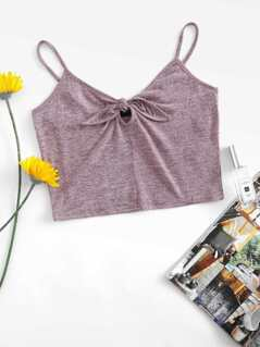 Knot Cut Out Front Crop Top