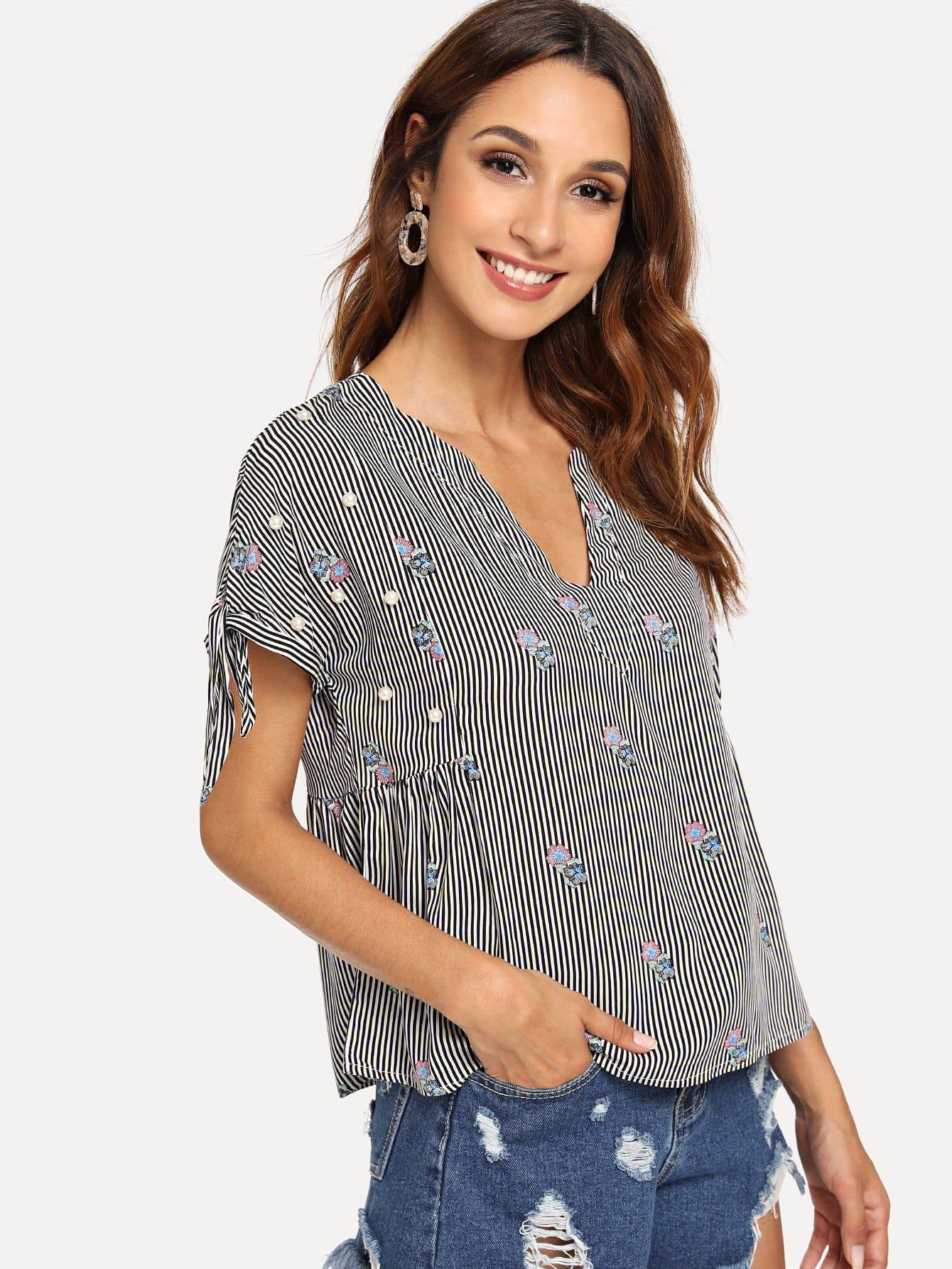 Купить Жемчужная вышитая бисером полосатая вышивальная блузка, Gabi B, SheIn