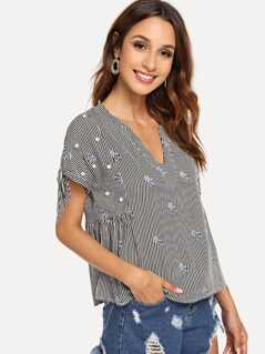 Pearl Beaded Floral Embroidery Striped Top