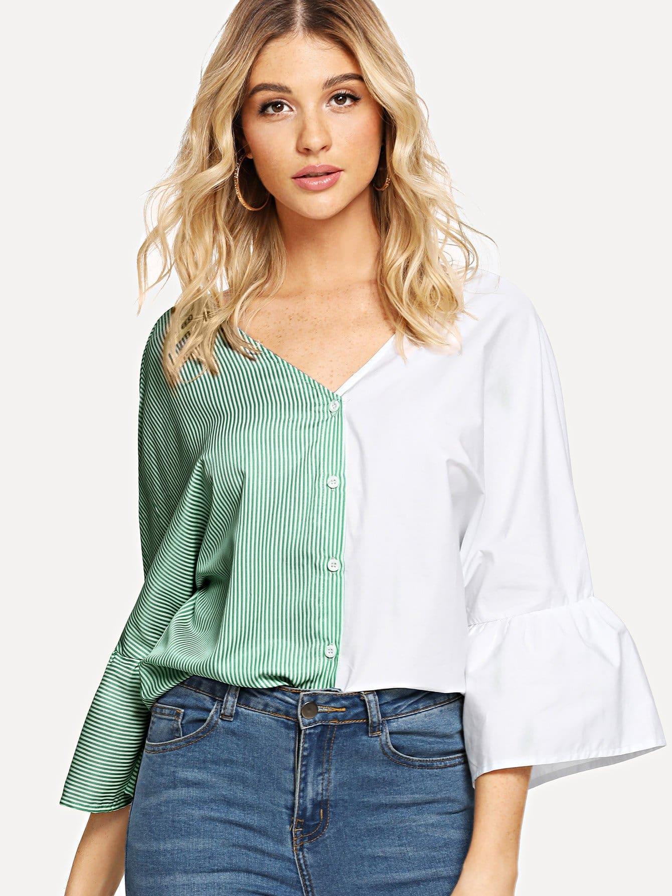 Купить Двухцветная полосатая рубашка с рукав-колоколами, Nathane, SheIn
