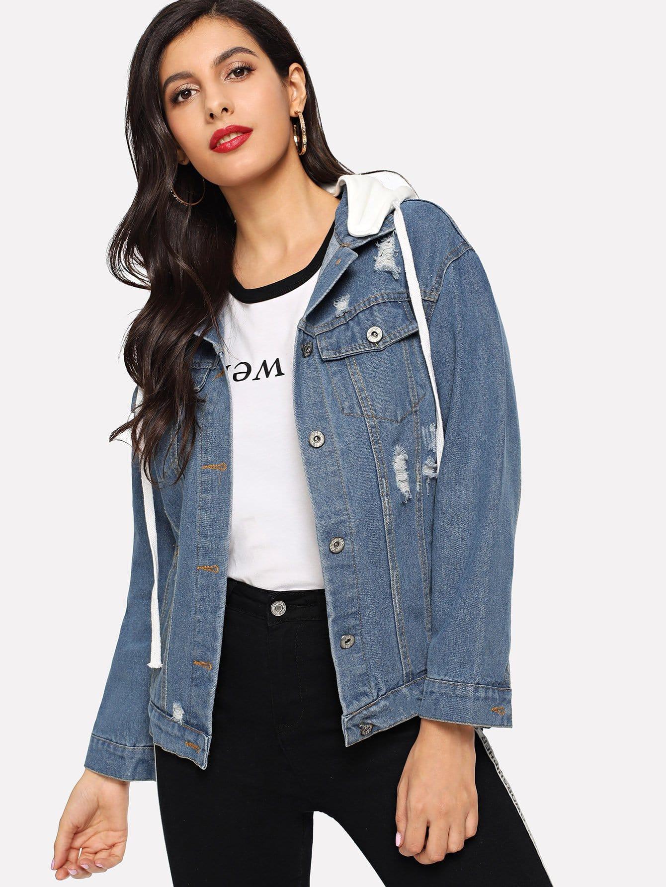 Рваная джинсовая ветровка с капюшоном SheIn