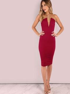 Bandeau Off Shoulder Skinny Solid Dress