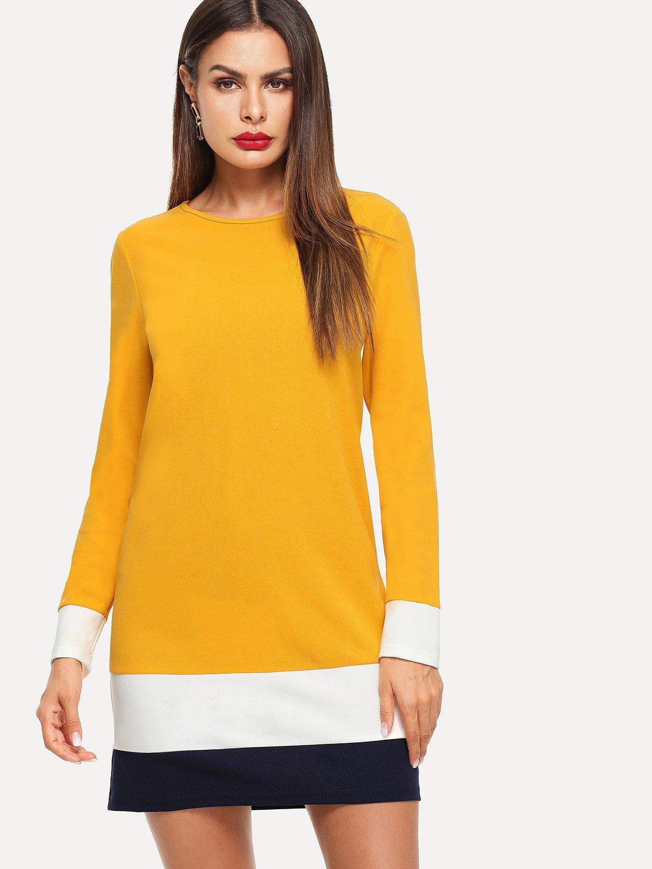 Купить Цветный кусковой туника платье, Andy, SheIn