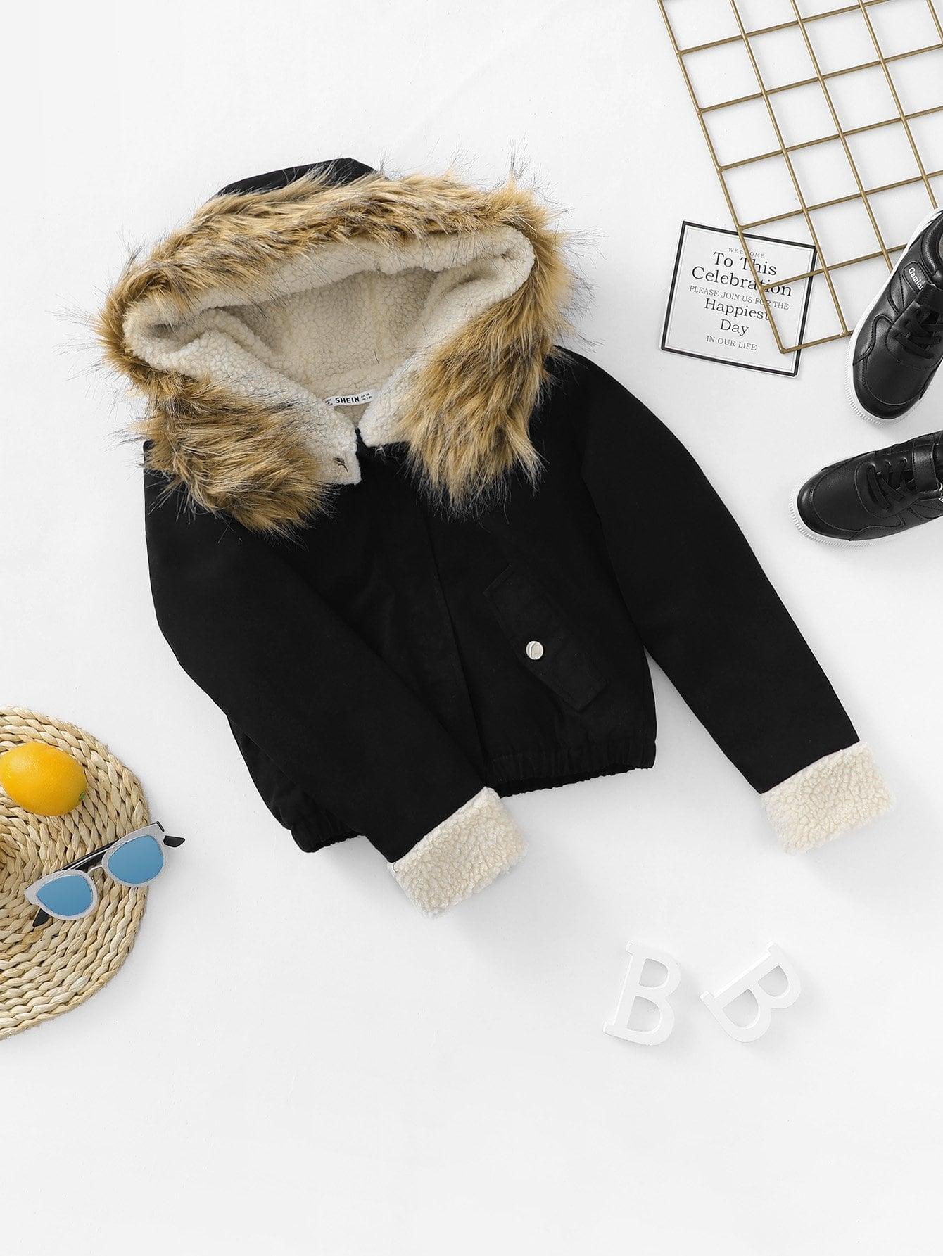 Купить Для девочек куртка с карманом и с искусственным мехом, null, SheIn