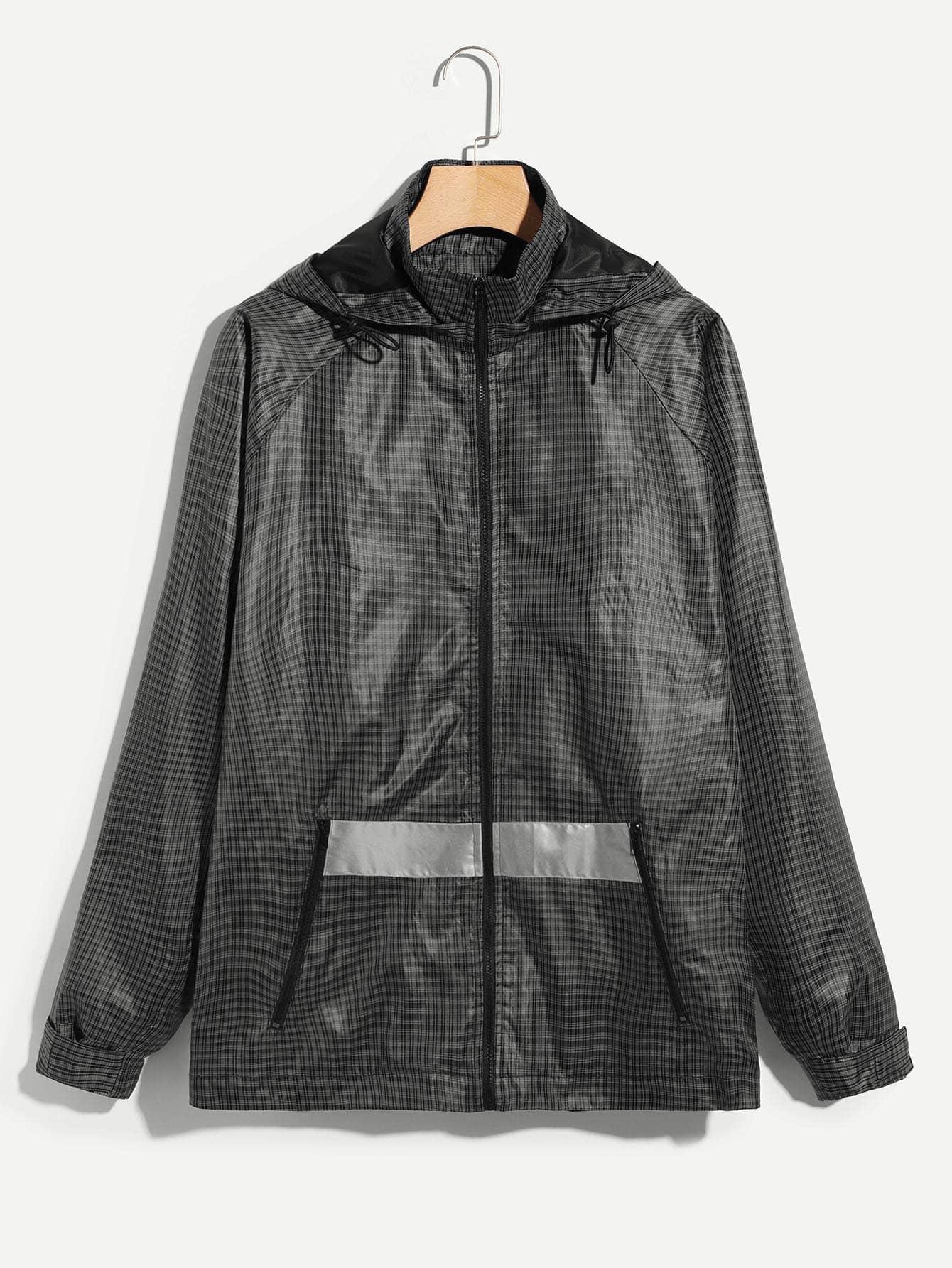 Купить Для мужчин пальто с капюшоном в клетку на молнии, null, SheIn