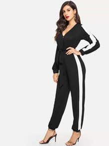 Surplice Neck Self Belted Colorblock Jumpsuit