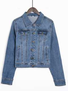 Pocket Patched Button Up Denim Jacket