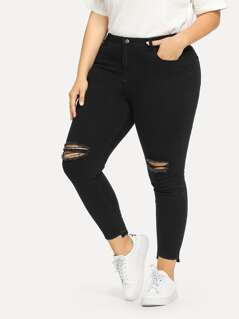 Plus Ripped Front Asymmetrical Hem Jeans