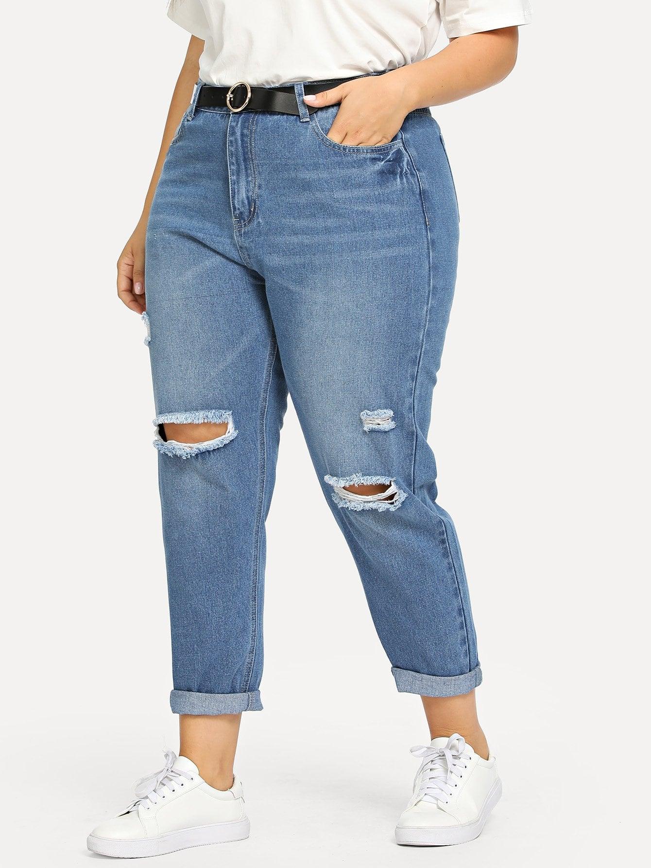 Купить Большие рваные джинсы и рольный подол, Franziska, SheIn