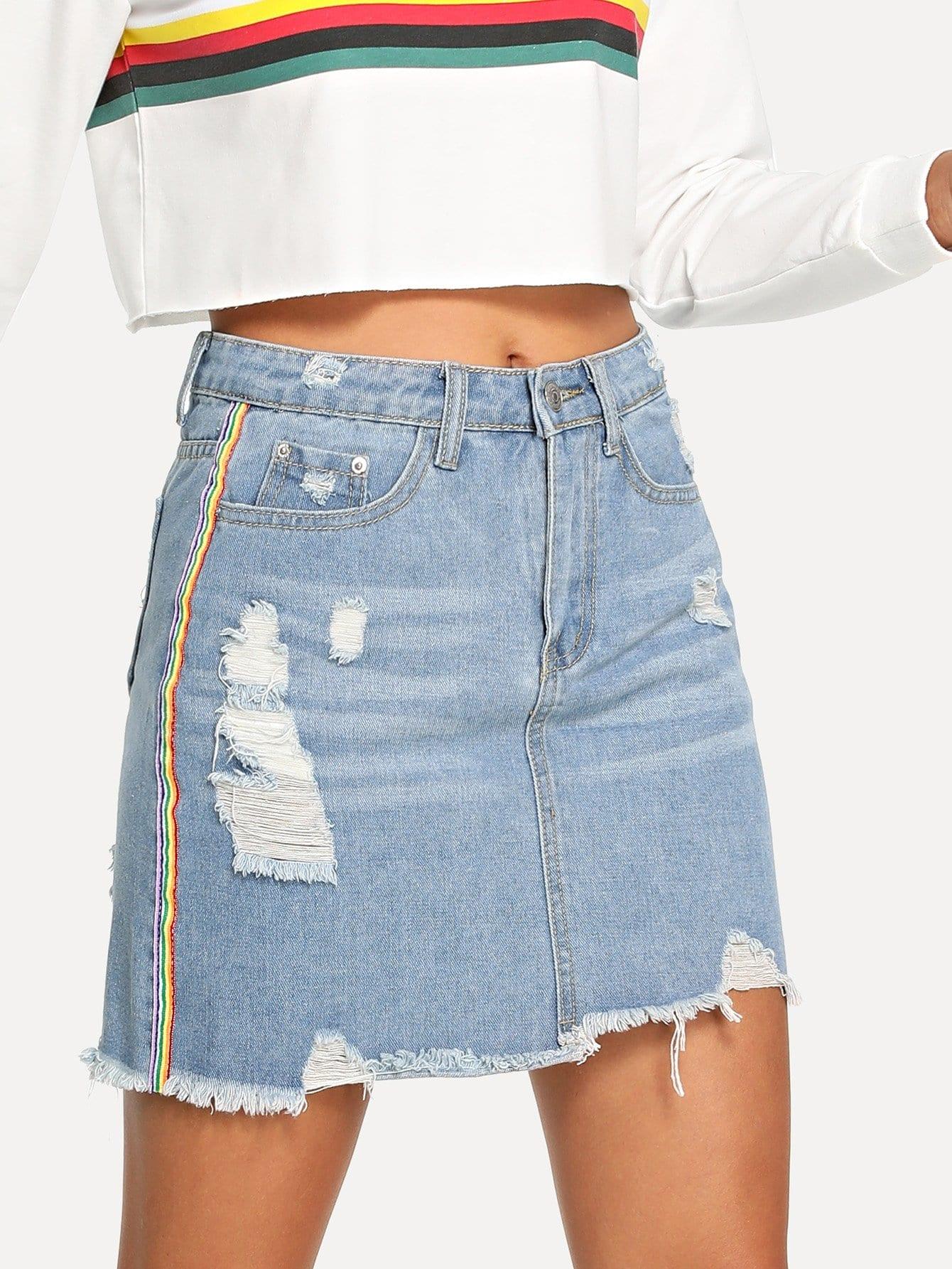 Купить Джинсовая юбка с небработанным краем и с полосами по обе стороны, Starl Lane, SheIn