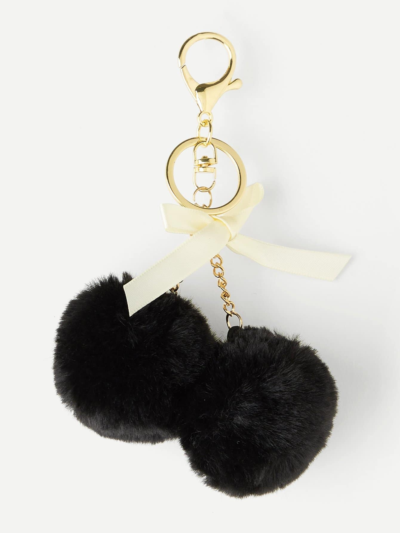 Bow Detail Double Pom Keychain