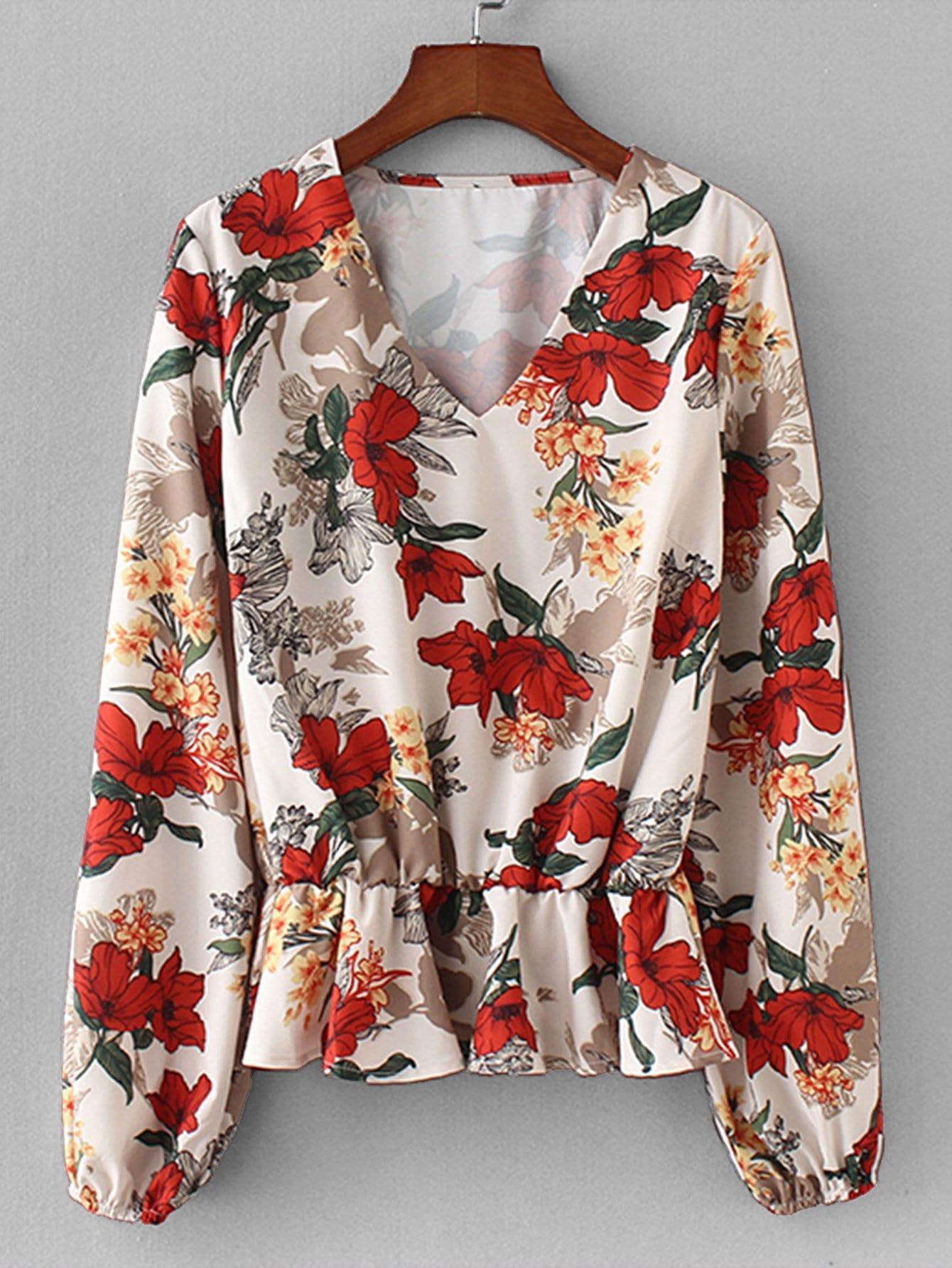 Allover Florals Pep Hem Blouse все цены