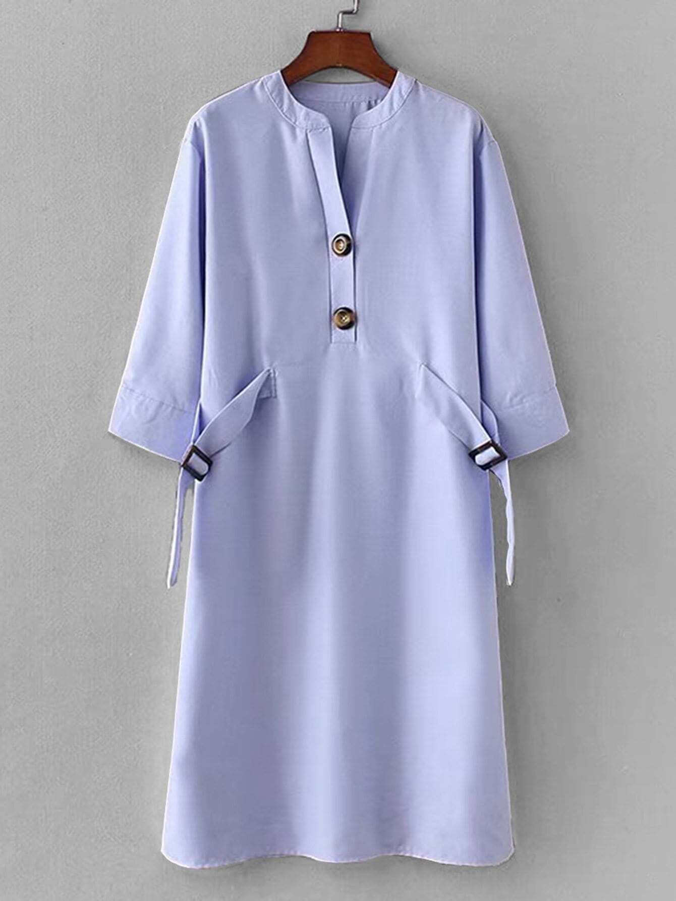 Платье с украшением пуговицы и застёжки, null, SheIn  - купить со скидкой