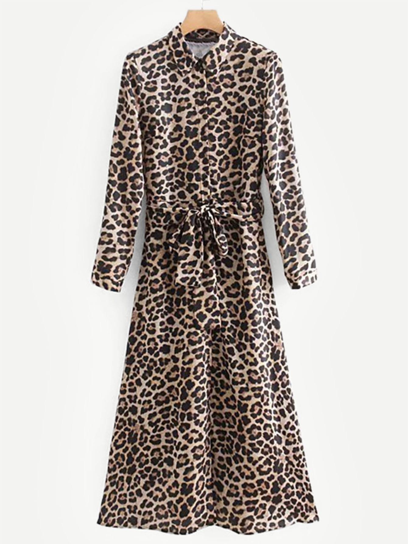 Купить Леопардрвое платье-рубашки с поясом, null, SheIn
