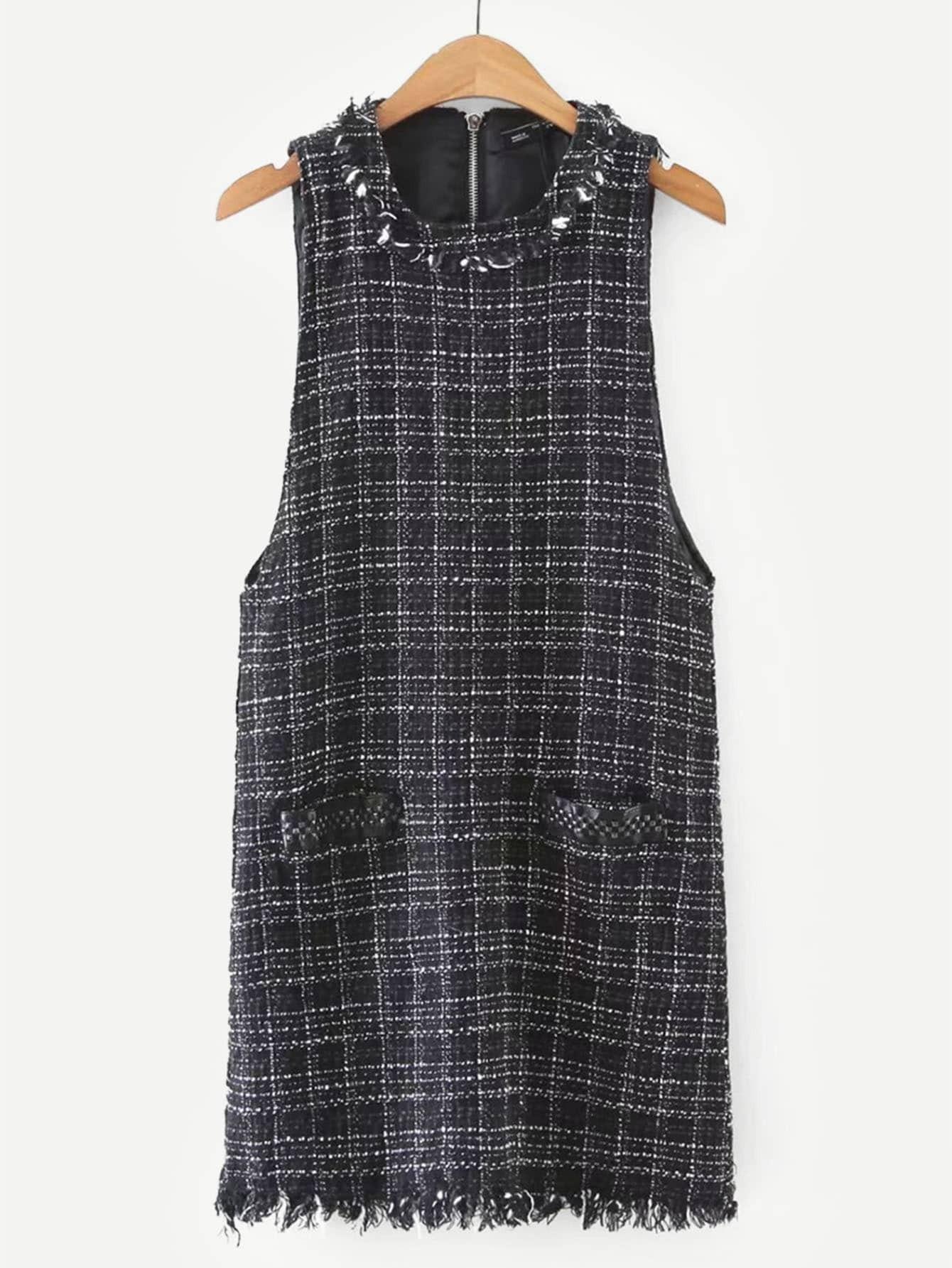 Купить Платье из твида и со сырыми оторочками, null, SheIn