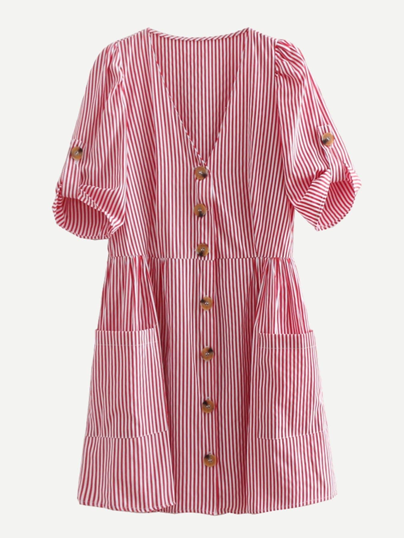 Купить Тонкое-полосатое платье с украшением пуговицы, null, SheIn