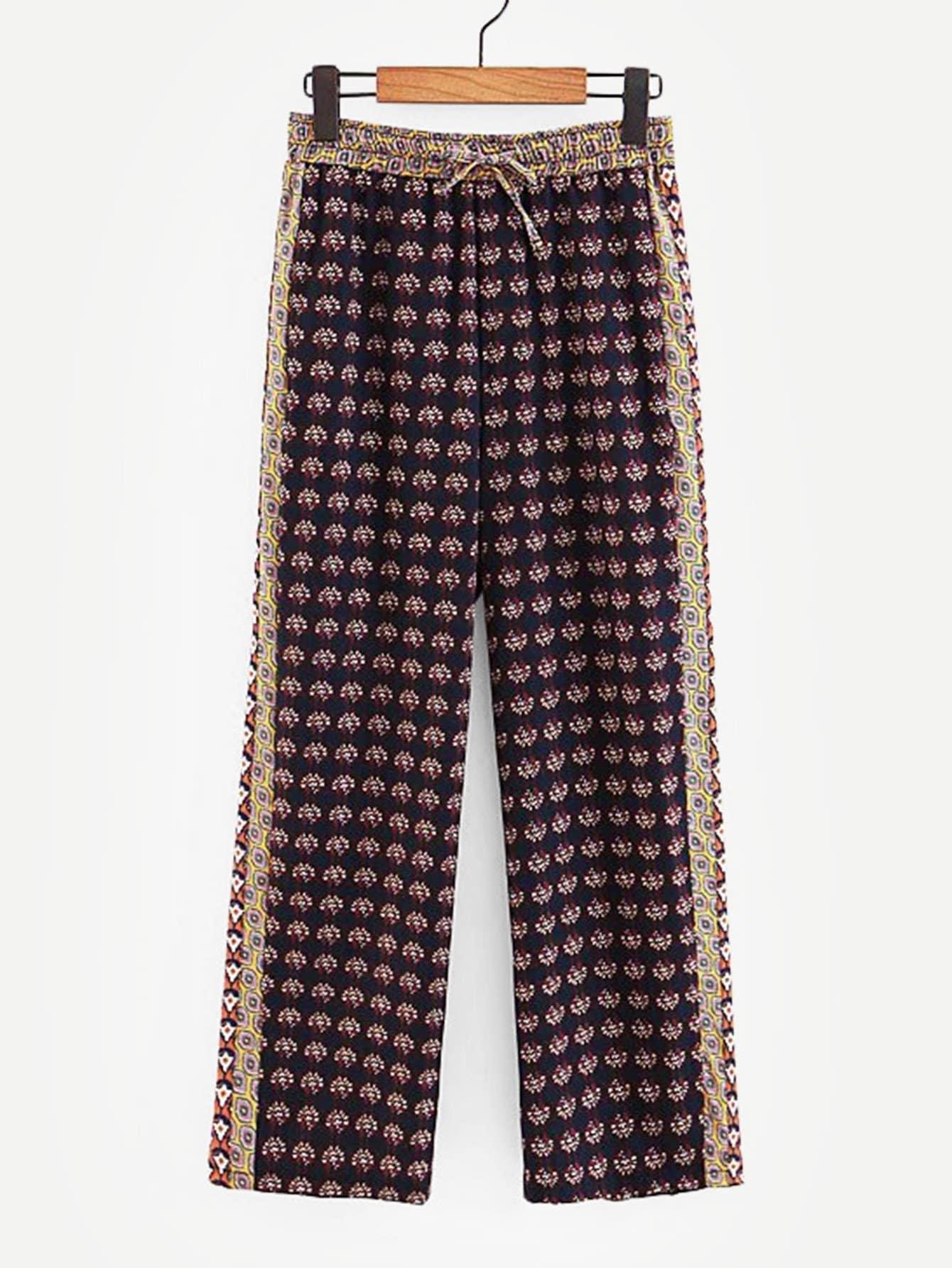 Ситцевые брюки с басоном эластичным, null, SheIn  - купить со скидкой