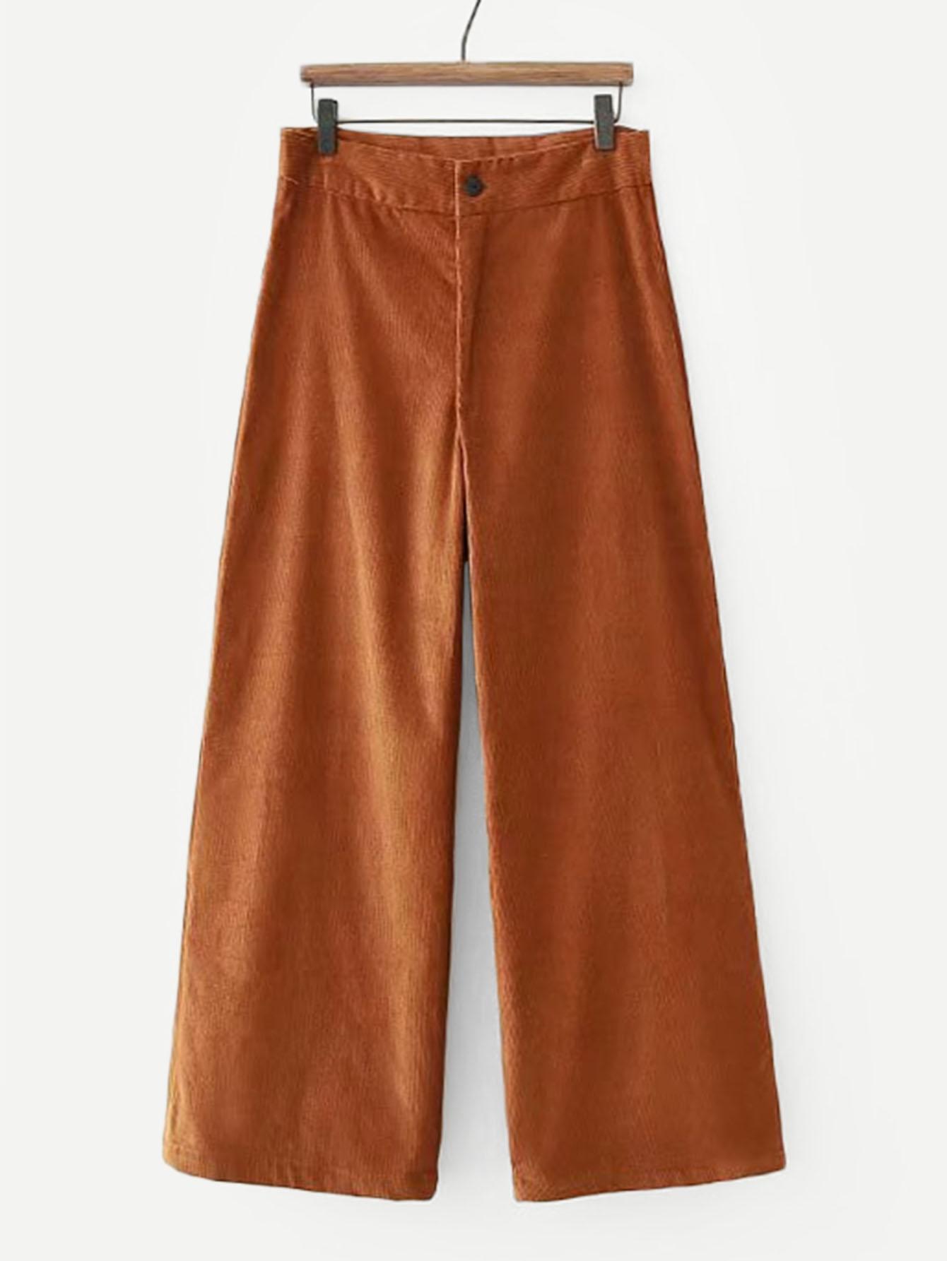 Купить Простые широкие ножные штаны из вельвет-корда, null, SheIn