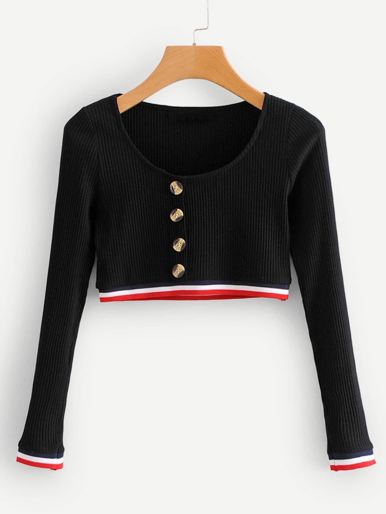 Купить Кроп-футболка с рельефными узорами со симметрическими полосатыми оторочками, null, SheIn