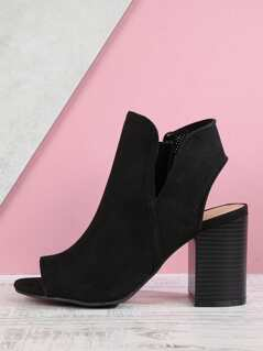 Perforated Peep Toe Bootie