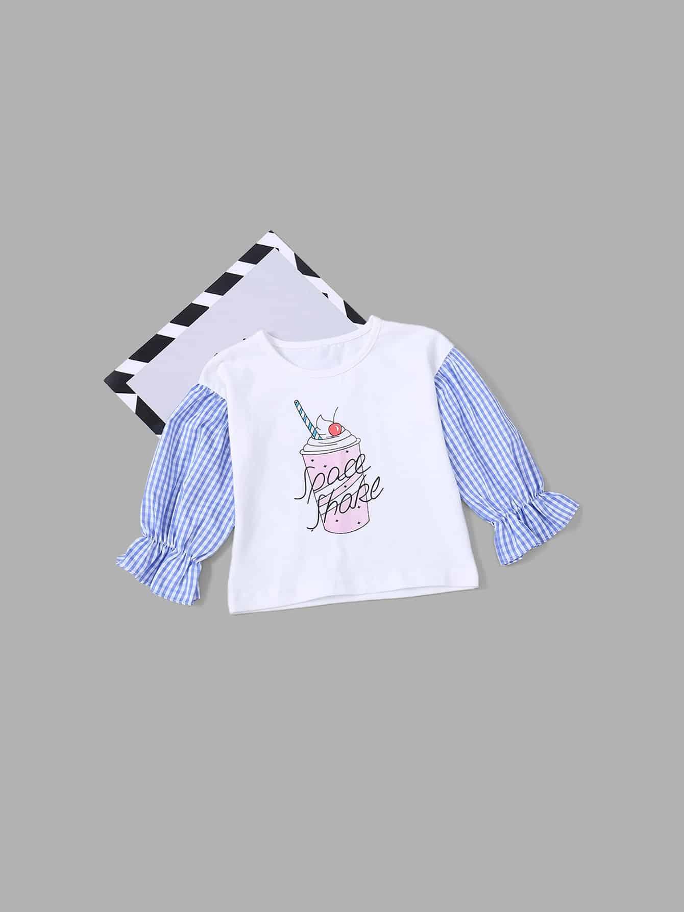 Купить Блуза с рисунком мороженого и со симметрическими рукавами для девочки, null, SheIn