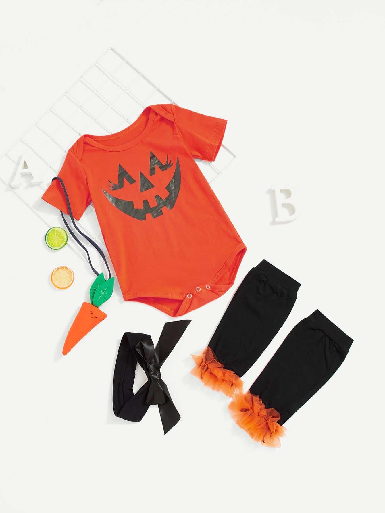 Купить Комбинезон с рисунком Хэллоуин и бандана для девочки, null, SheIn