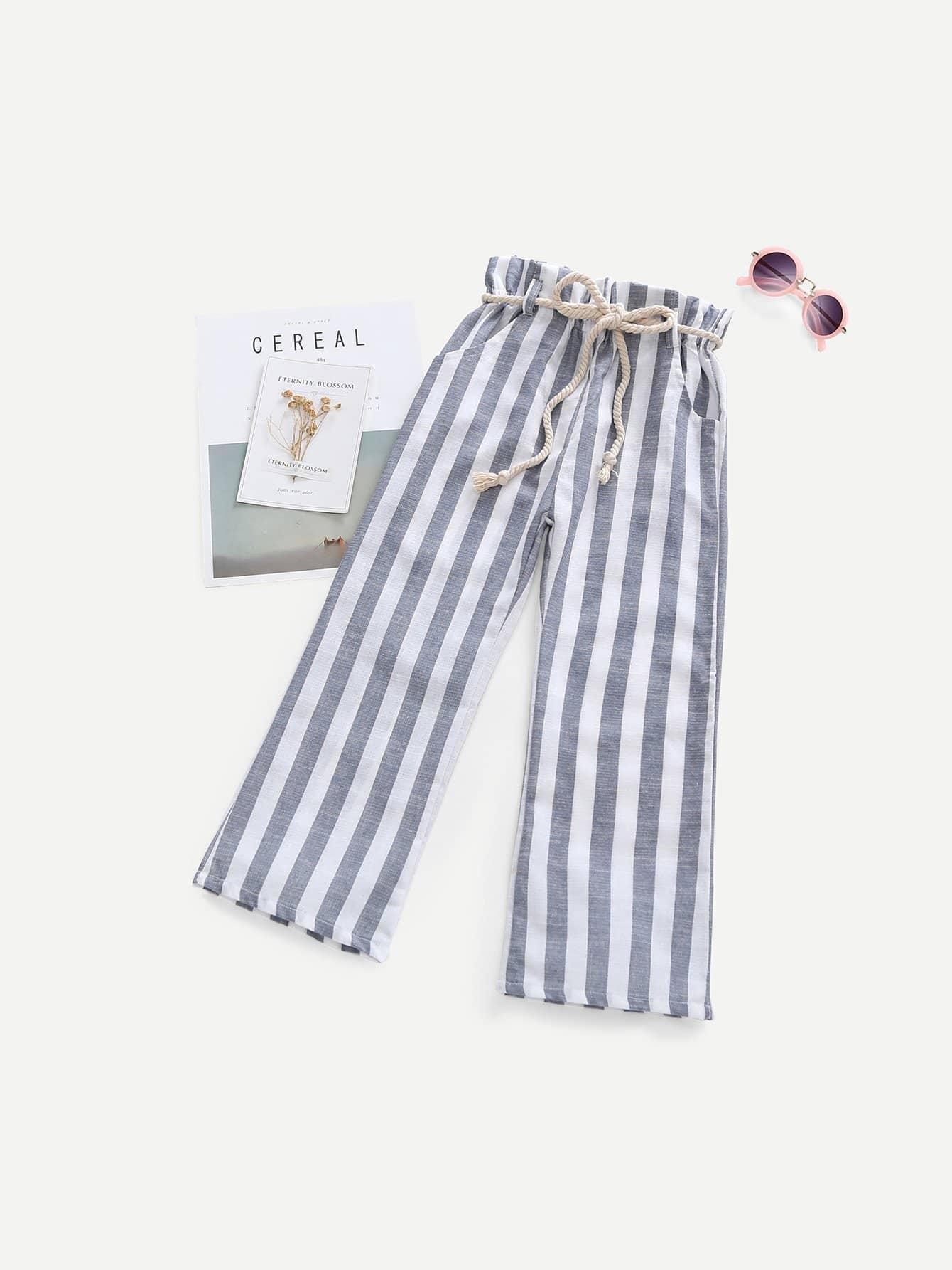 Купить Полосатые брюки с поясом для девочки, null, SheIn