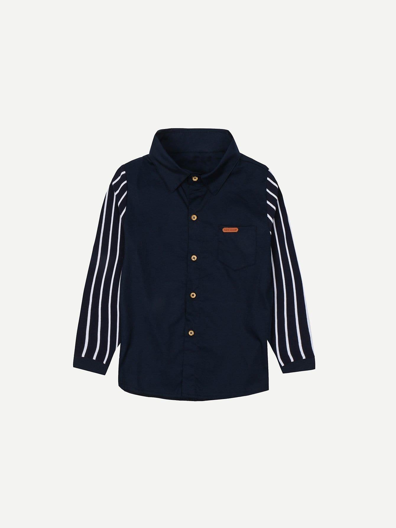Boys Contrast Striped Sleeve Shirt