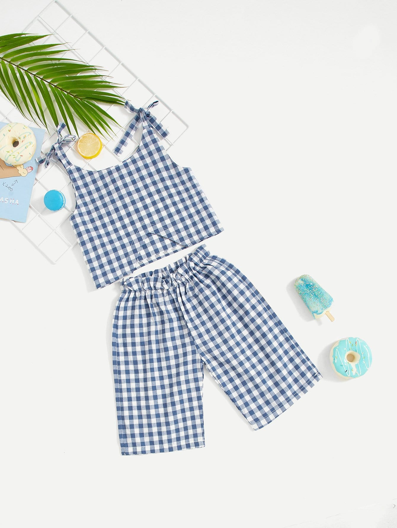 Girls Gingham Cami Top With Pants