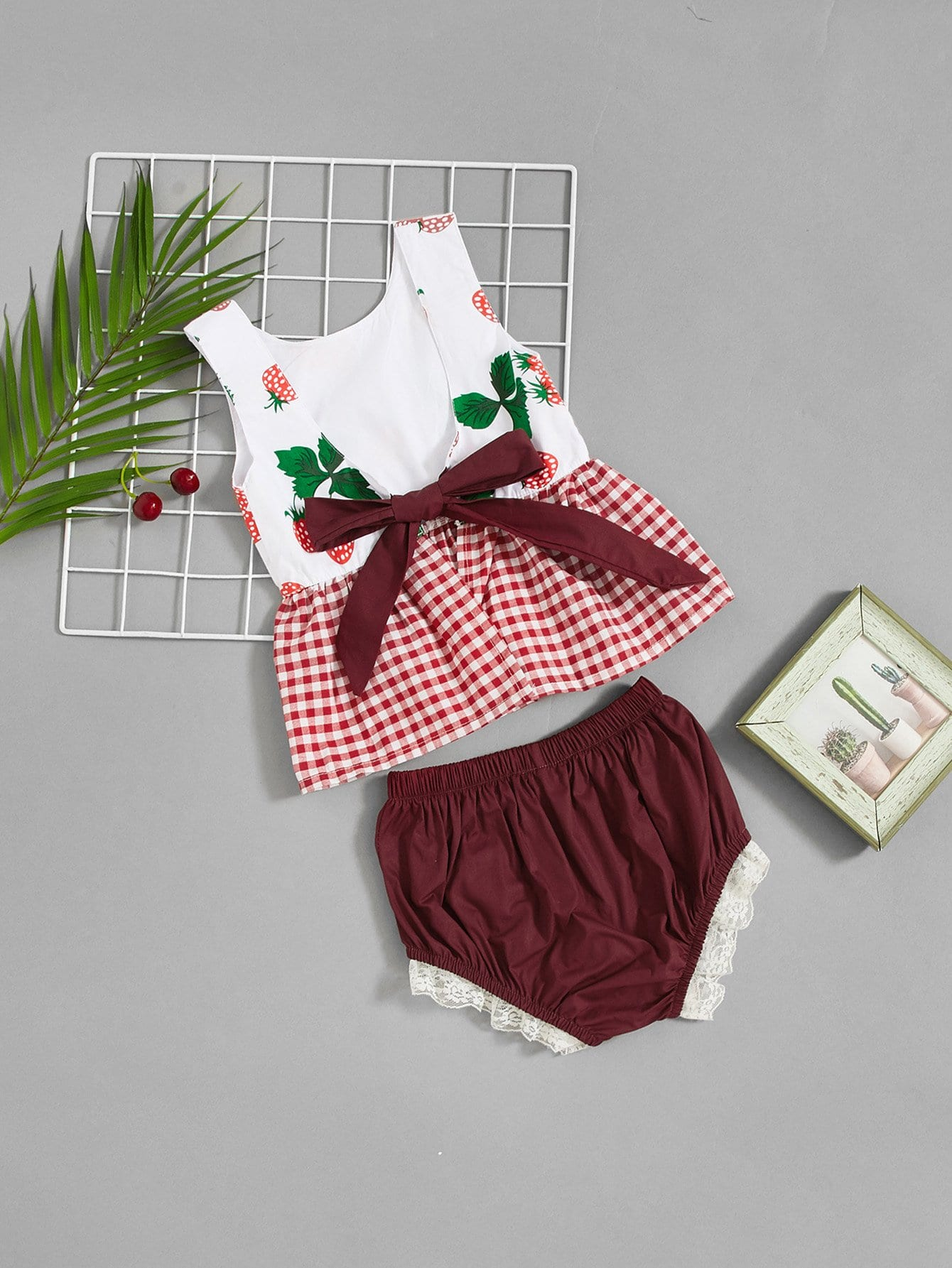 Girls Knot Front Gingham Top With Lace Trim Shorts