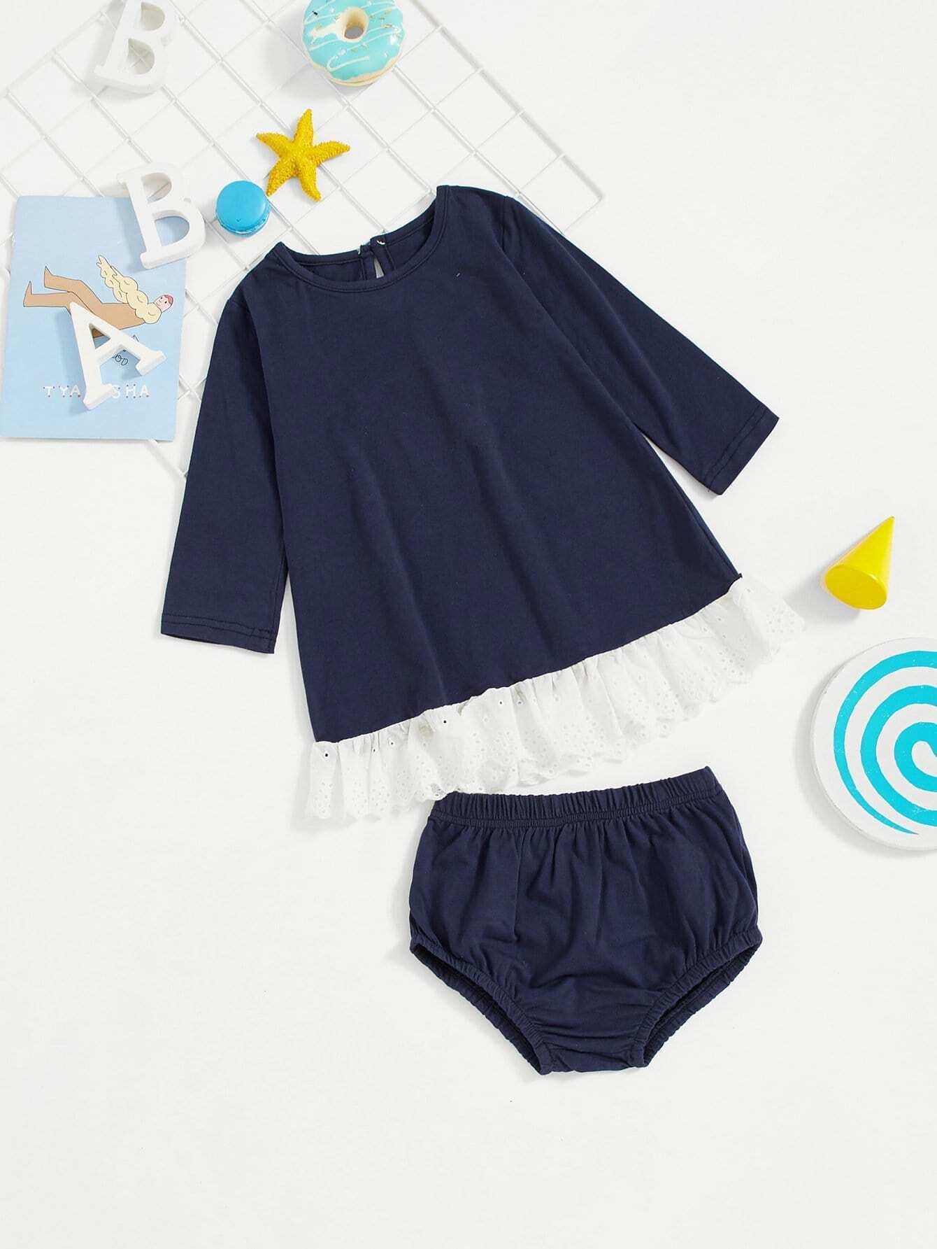 Купить Блузка с вышивкой и шорты для девочки, null, SheIn