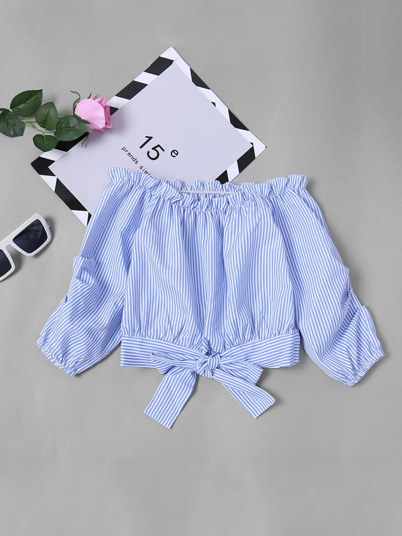 Girls Frill Knot Striped Blouse