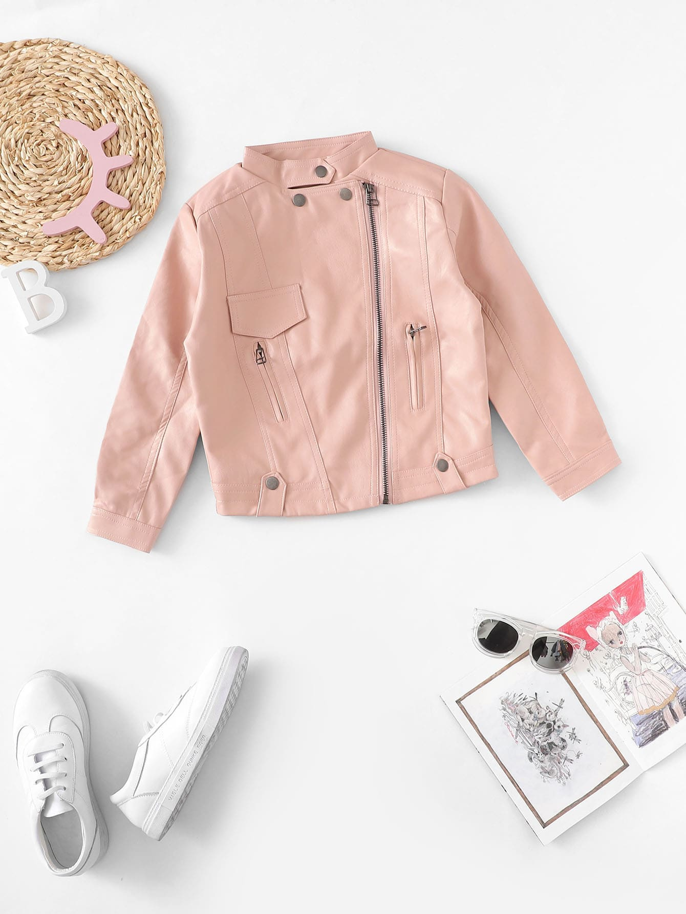 Girls Zip Decoration Plain Pu Jacket