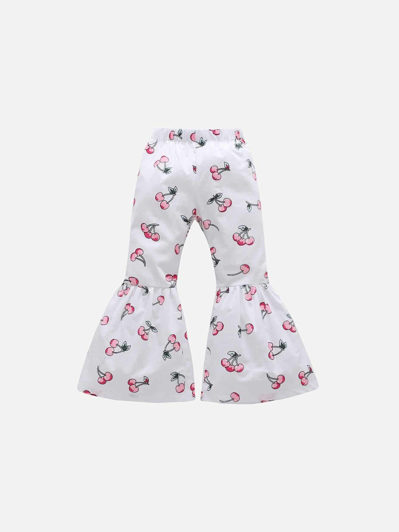 Girls Allover Cherry Print Flounce Pants