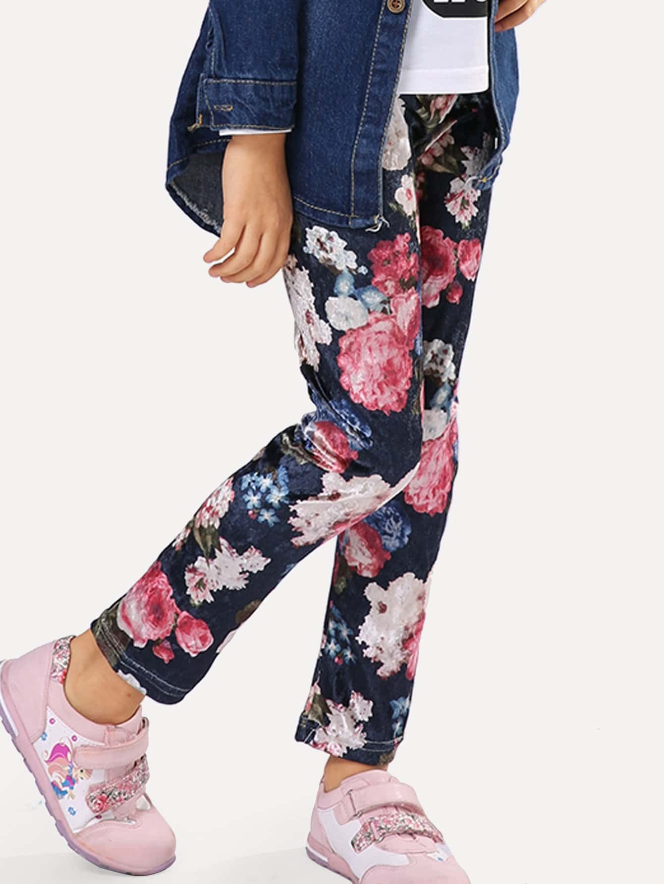 Girls Allover Floral Print Pants