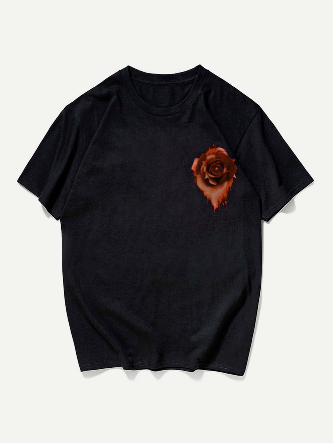 Купить Футболка с манжетой и с рисунком розы для мужчины, null, SheIn