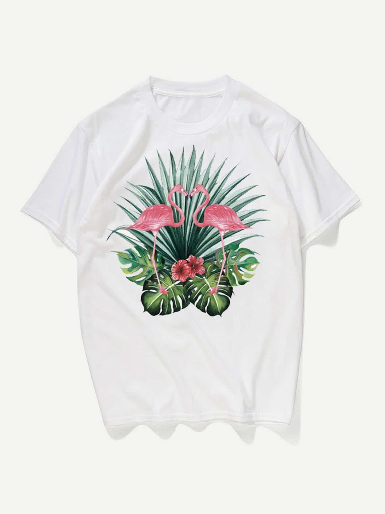 Men Tropical And Flamingo Print Tee