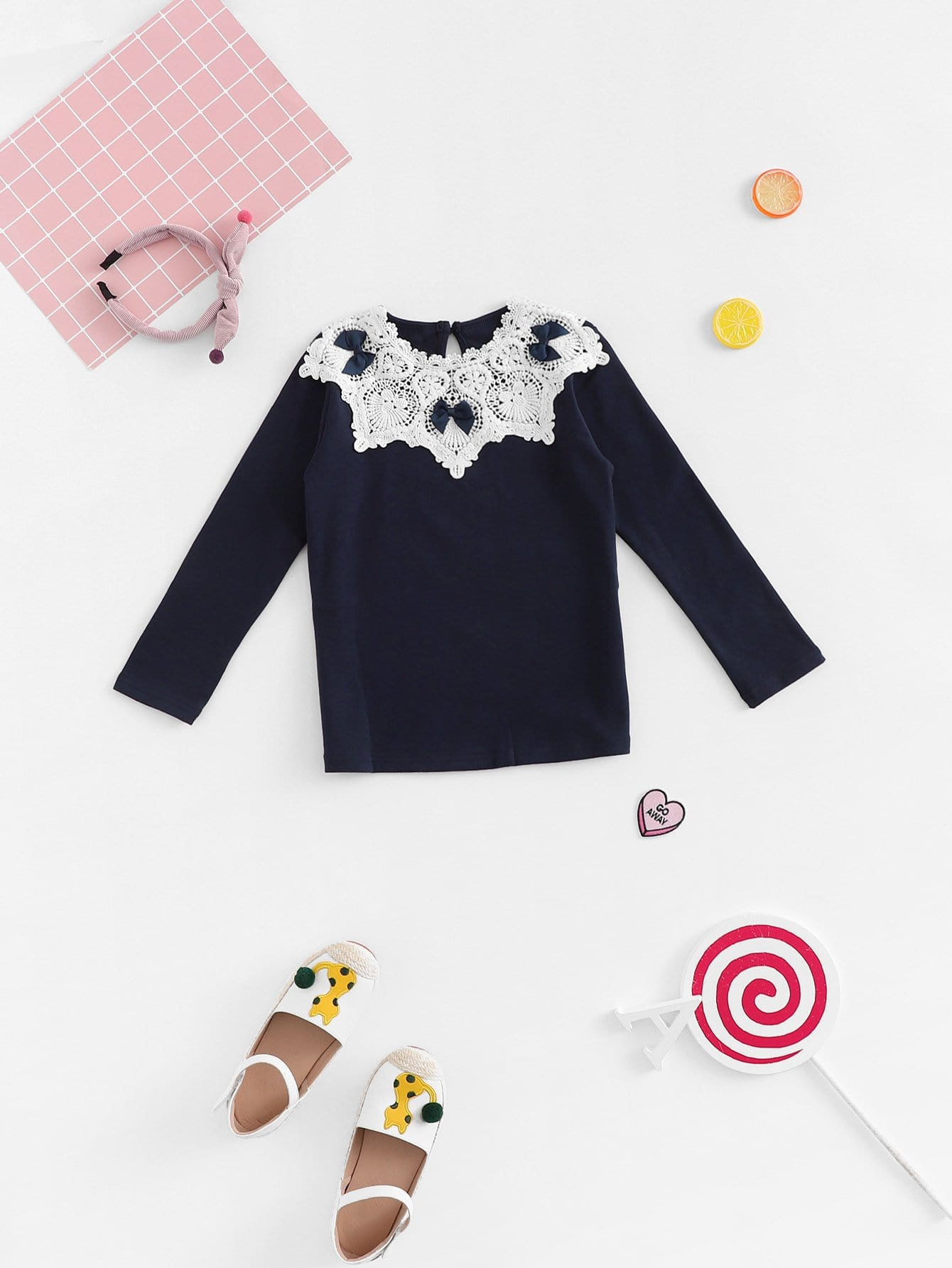 Girls Contrast Lace Tee
