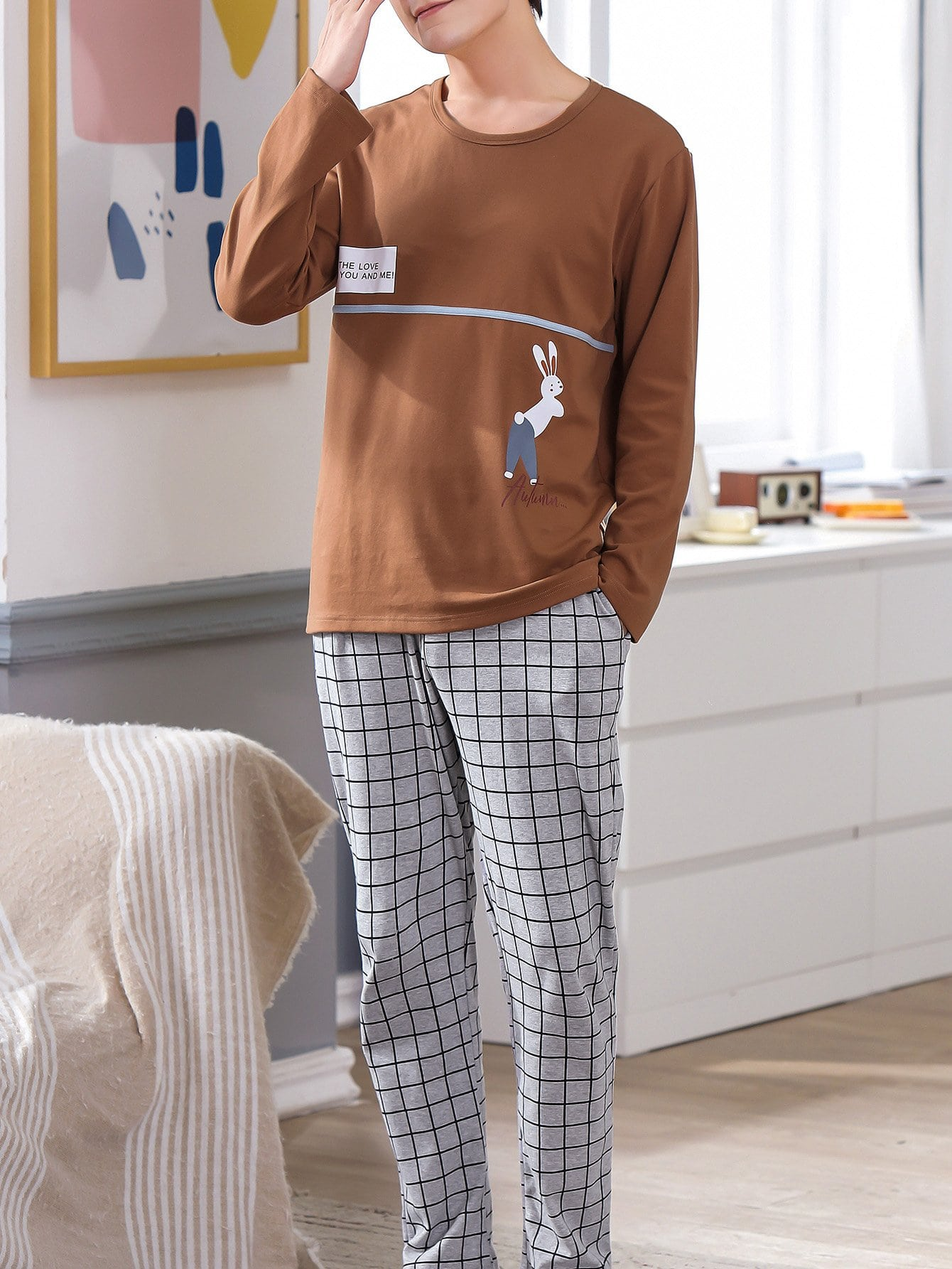 Men Rabbit Print Plaid Pajama Set