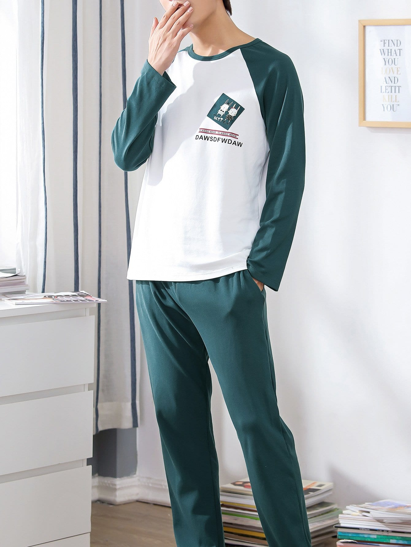 Men Rabbit Print Colorblock Pajama Set